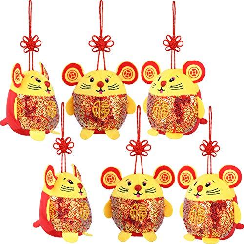 Chinesisches Neujahr Rote Ratte Ornament Dekorationen Jahr der Maus Festival Dekoration Viel Glück Plüsch Rote Maus Kuscheltier Tisch Regal Dekor Haus Figuren (Ratte mit Pailletten, 6 Packungen)