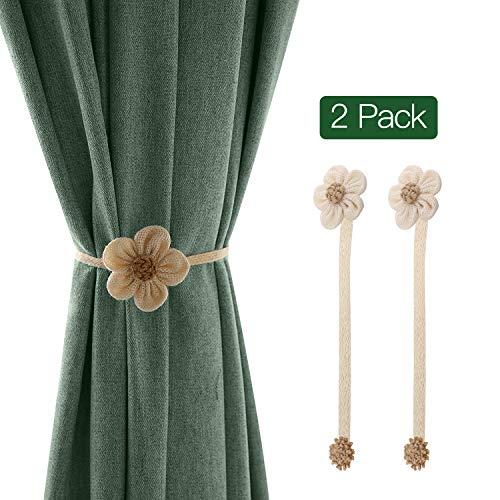 Lewondr fermatende raccoglitenda in tessuto lino forma a fiore 2 set con calamita, dimensione filo 40 cm, accessori tende, decorazioni finestre, fermatende per camera da letto, casa- bianco - beige