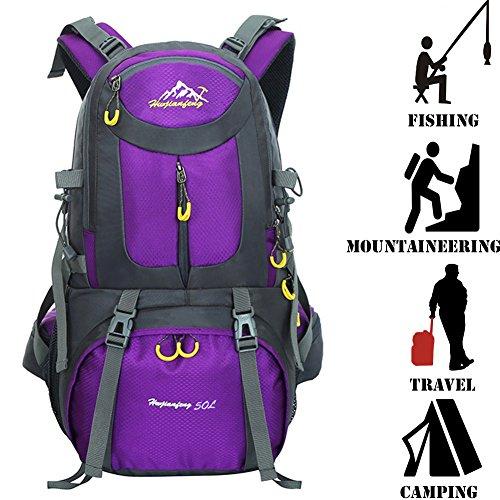 tdogs Wandern Rucksack 50L Wasserdicht Outdoor Sport Daypack für Klettern Bergsteigen Angeln Reisen Radfahren. Violett
