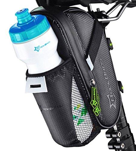 ROCKBROS Fahrrad Satteltasche mit Flaschenhalter • Fahrradtasche Schwarz Wasserdicht • Netztasche für Trinkflasche (Fahrrad-rad-tasche)