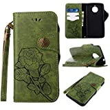 Moto E4 Plus Protective Case, UNEXTATI Vintage Rose Pattern Stand PU Leather Flip Cover, Wallet Case Cover With Hand Strap For Moto E4 Plus (Green)