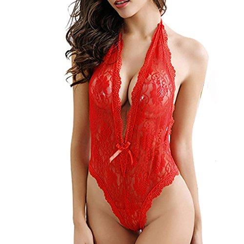Bellelove Sexy Frauen Plus Size Lace Babydoll Intim Unterwäsche Dessous Kleid Nachtwäsche (L, rot)