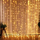 Zenoplige  Fairy Festoon, 8 Modes Curtain Strips Icicle String Lights, 300 LEDs, Warm White