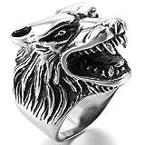 MunkiMix Edelstahl Ring Silber Ton Schwarz Wolf Kopf Größe 60 (19.1) Herren