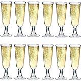 50 Flûtes à Champagne plastique jetables de 0,1l | Incassable | Réutilisables | Hauteur de 16cm | Coupe à Champagne
