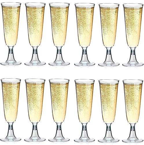 Sektgläser Plastik 50 Stück Einweg Champagnergläser 0,1l   Bruchfest - Glasklar   Höhe 16cm   Sektglas - Sektkelche