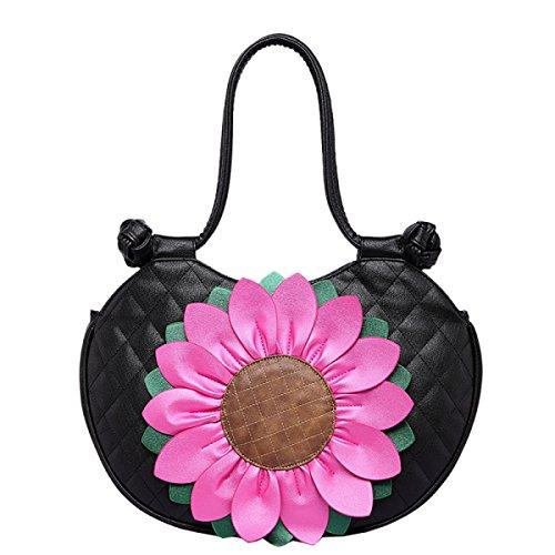 Frauen-Kurier-Beutel-Handtaschen-Schulterbeutel-Kreuzkörperbeutel Tote-Beutel Mit 2017 NEUER Sun-Blumenentwurf Black