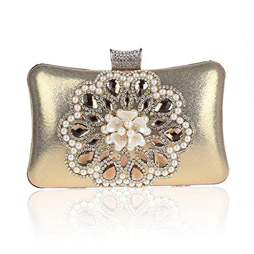 Borsa da donna frizione nuovo modo del vestito da sera di banchetto del sacchetto di diamante fiore in rilievo vestito HASP ( Colore : Silver ) Oro