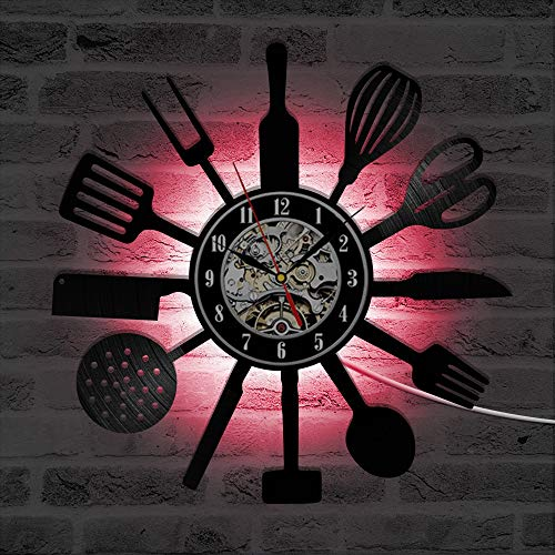 Mcolk Personalisierte Besteck Küchenutensilien Rekorduhr Löffel Gabel Messer 3D Wanduhr Vinyl Wandkunst Dekorative Led Uhr - Dj-besteck