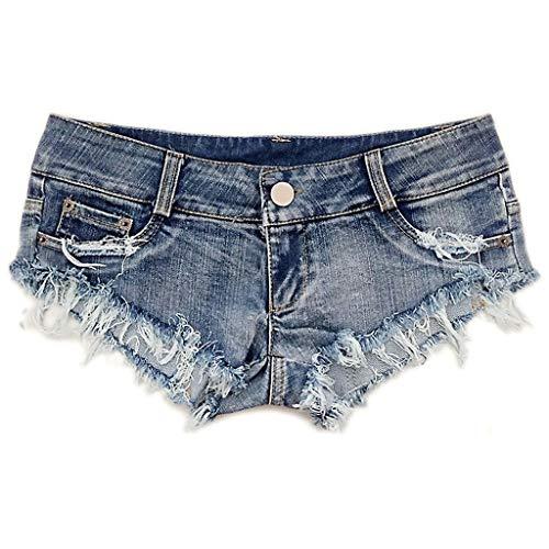 HGhot Mini Shorts Denim Stretchable abgeschnitten Low Rise Taille Sexy Micro Jeans Hot Pants für Frau Mädchen Teen (Farbe : Blau, größe : S) - Leichte Low-rise-jeans