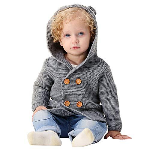 Neonato invernale giacca bambini invernale giacche per bambini toddler bambino ragazzi ragazze solide colore orecchie incappucciati maglia tops caldo vestiti cappotto morwind