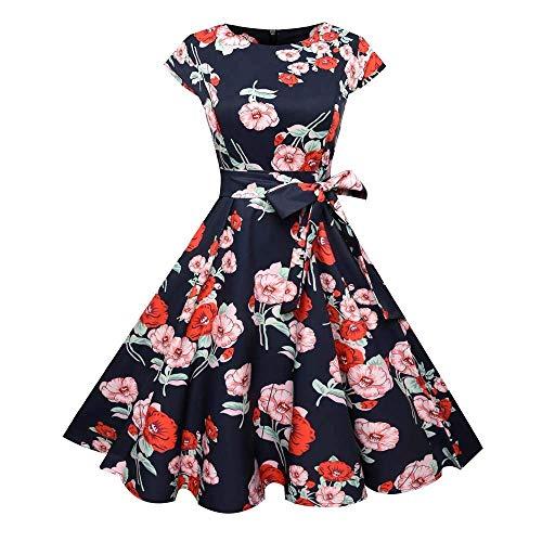 Fuxitoggo Abstand Womens Vintage Kurzarm Kleider, Frauen Vintage Bodycon Lässige Retro Abend Party Prom Schaukel Kleid für Frauen Damen (Farbe : Rot, Größe : ()