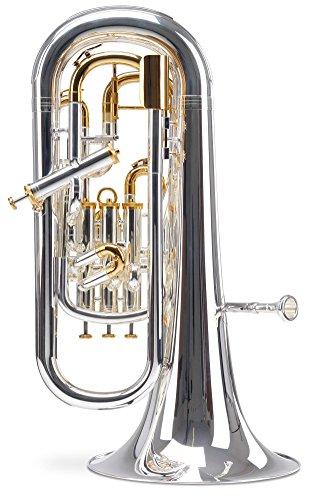Lechgold EH-304 Bb-Euphonium (für Einsteiger und Fortgeschrittene, Edelstahl-Ventile, aus hochwertigem Messing, Züge aus Neusilber, inkl. Koffer, Mundstück, Reinigungstuch, Ventilöl) klarlackiert