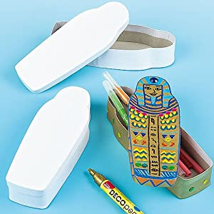 Baker Ross Strong White Cardboard Egyptian Sarcophagus Pencil Boxes For Children to Paint, Decorate & Personalise - Pack of 3