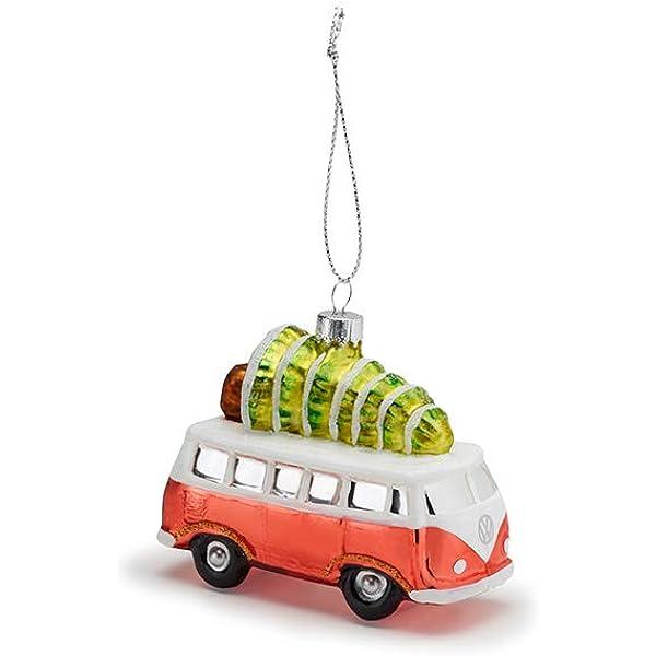 VW Bus m.LED Beleuchtung Tannenbaum auf Dach X Mas Weihnacht Deko Vintage 18x12
