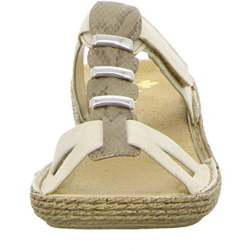 Rieker Femmes Mules beige, (chalk/leinen) 65866-60 chalk/leinen