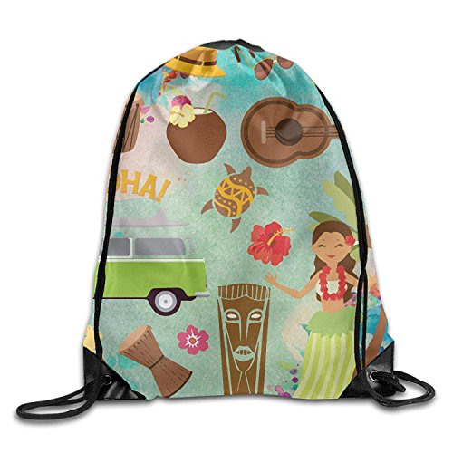 Funny&shirt Hawaiian Luau Party Unisex Drawstring Backpack Travel Sports Bag Drawstring Beam Port Backpack.
