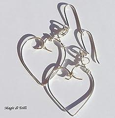 Idea Regalo - Magie di Trilli - Orecchini artigianali donna pendenti a cuore in filo argento per gioielli - Idea regalo - San Valentino