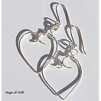 Magie di Trilli - Orecchini artigianali donna pendenti a cuore in filo argento per gioielli - Idea regalo - San Valentino