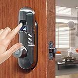 Keyless Deadbolt Lock Keypad Fingerprint Deadbolt Door Deadlock Knob 98A High security (Satin Nickel)