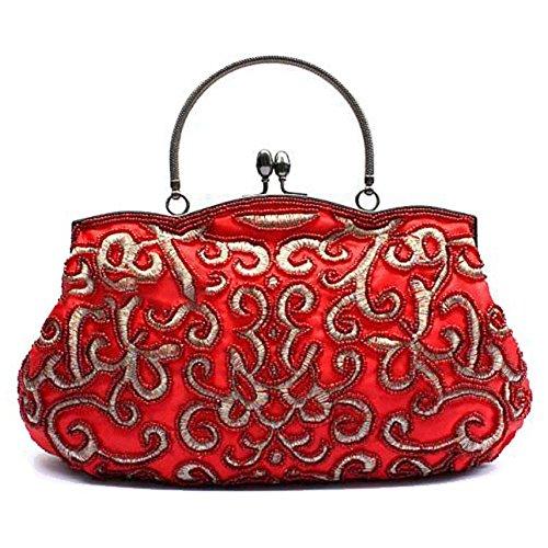 Frau Abendtaschen Retro Perlen Satin Bankett Party Kupplung Handtasche. (28 X 22 Cm) red