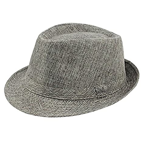 Monicanine Unisex Men's Summer Beach Hat Sun Screen Linen Fedoras