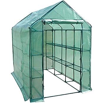 casa pura® Gewächshaus Nostalgia   großes Foliengewächshaus mit 18 Regalböden auf 3 Ebenen   für Tomaten und andere schutzbedürftige Pflanzen   inkl. Bodenankern   214 (L) x 143 (B) x 196 (H) cm