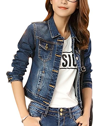 Donna casual oversize slim fit giacca in jeans manica lunga cappotto blu m