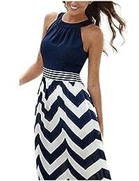 vestidos de fiesta largos de noche Sannysis vestidos playa mujer, color azul