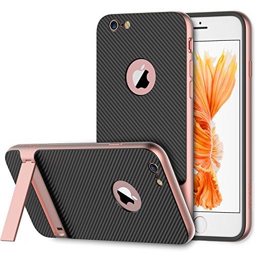 """iPhone 6s Hülle, JETech iPhone 6 6s Hülle 4.7"""" Tasche Schutzhülle Slim-Fit Case mit Selbst Ständer für Apple iPhone 6 6s 4.7 (Schwarz) Rose"""