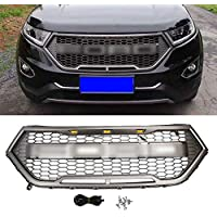 ACEOLT ABS Material Black Front Grilles with LED Light and Logo Replacement Front Grill for FORD EDGE 2015 2016 2017