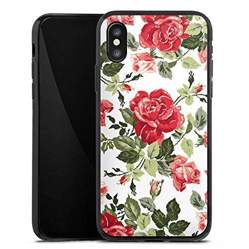 Apple iPhone X Silikon Hülle Case Schutzhülle Rosen Frühling Blüten Silikon Case schwarz