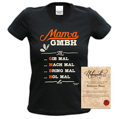 Mama GmbH Geschenk-Set Geschenkidee für Weihnachten Geburtstag Muttertag Frauen Mütter Damen Kurzarm-T-Shirt und Urkunde Farbe: schwarz Schwarz