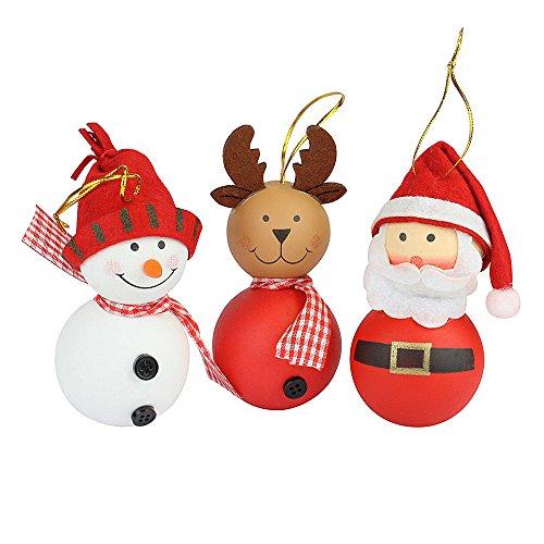 Set di 3 Babbo Natale, pupazzo di neve & renna Figurine appendere decorazioni albero di Natale