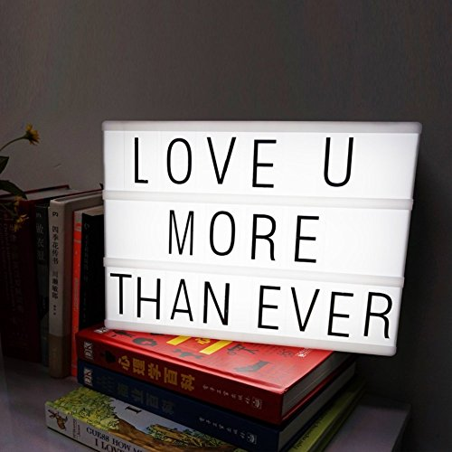 Cinema Light Box with 90 alphabets letters,number,symbols to create personalized marquee signs powered by battery and USB (Black A5)