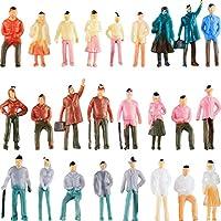 Gejoy 100 Piezas Figuras de Personas Modelos de Trenes Arquitectónicos de Plástico Figuras de Personas Personas Pequeñas Sentadas y Paradas para Escenas En Miniatura, Escala 1:75