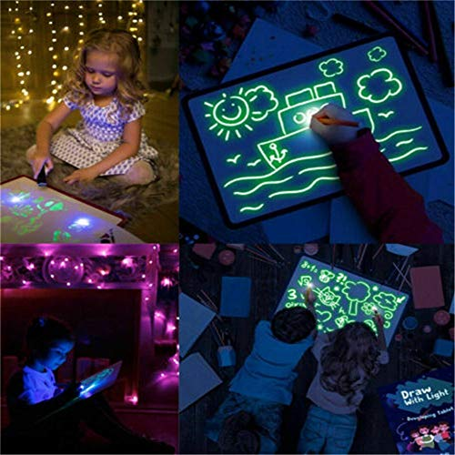 JM 1 Pen/Set Fluorescent Luminous Writing Board Draw with Light-Fun And Developing Toy And Developing Toy Big Pack Portable Hi-Tech Drawing Board for Kids, Draw, Doodle, Art, Write (A5)