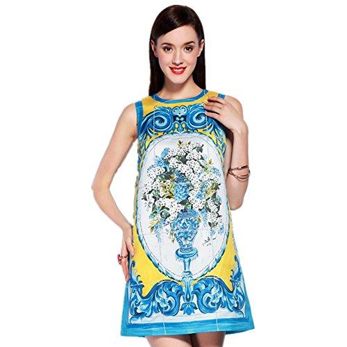 SHISHANG Robe femmes Robe 96% fibre de polyester + 4% Spandex Imprimé col rond manches bleu d'été Light Blue