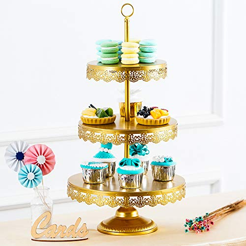 3 Schichte Tortenständer, Dessert Tablett aus Schmiedeeisen, Obstteller mit Borten am Rande, Hochzeits- / Party Begrüßungstisch Snack Stand, Gold Gold Stand