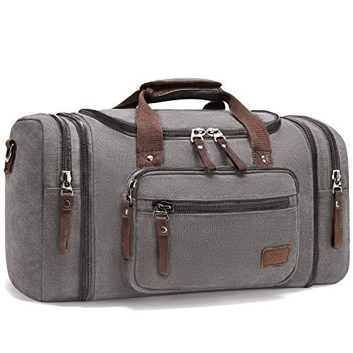 Fresion Große Reisetasche Canvas Sporttasche Schultertasche Tote Handtasche Männer Weekender Tasche Duffle Bag für Frauen & Männer mit 44L (Grau) -