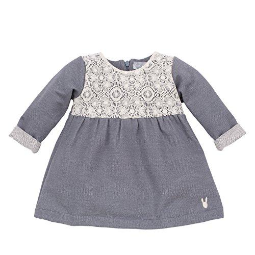 Pinokio - Colette- Kleid - Baby, Mädchen - 100% Baumwolle - Blau/Grau mit weißer Spitze, langärmliges Kleidchen Girls (68)