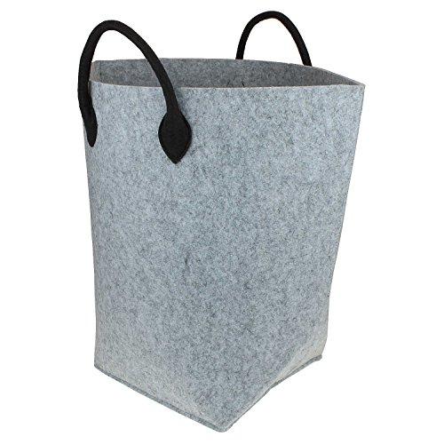 Hochwertiger XXL Filzkorb Hell-Grau / Wäschekorb aus Filz von MACOSA HOME, stabil und robust. 5 mm stark ! Allzweckkorb Filz, Aufbewahrung, Filz-Box