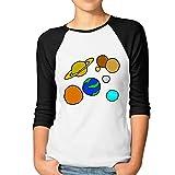 Camisa raglán de Manga 3/4 para Mujer, diseño Vintage con Estampado de Sistema Solar