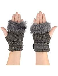 Handstulpen flauschig weich Luxus Glitzernieten Handschuhe fingerlos Hellgrau