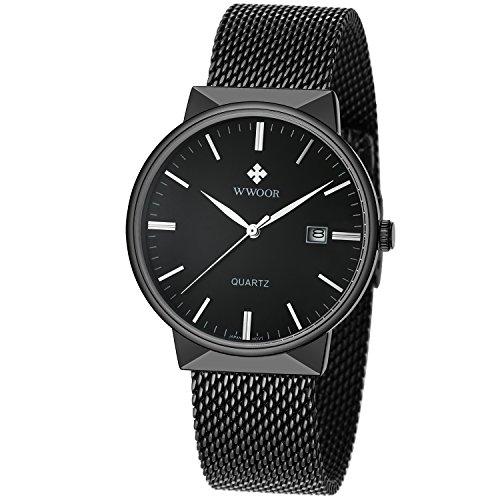 WWOOR Herren Sport Quartz Armbanduhr Männlich vernetzter Gürtel Uhr mit Datum Schwarz