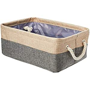 AmazonBasics Linen Storage Basket with Handles, Small (2-Pack)