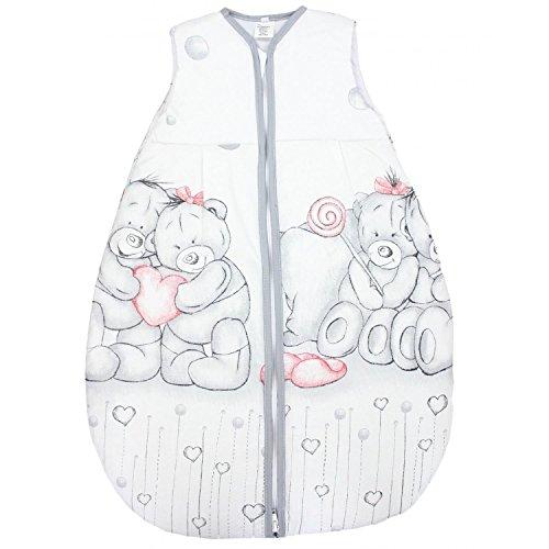 TupTam Baby Unisex Schlafsack Ärmellos Wattiert, Farbe: Kuschelbären Grau/Rot, Größe: 104-110