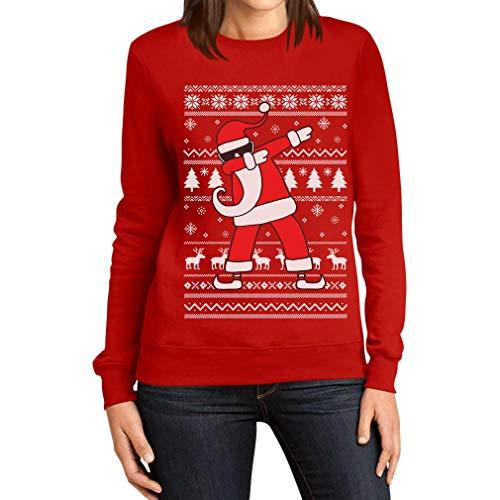 Maglione Divertente di Natale - Santa Dab Felpa da Donna Medium Rosso