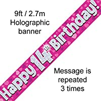 14th Birthday Pink Holographic Banner by Signature Balloons