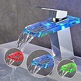 BONADE RGB Robinet Lavabo Cascade en Verre LED Mitigeur Vasque monocommande avec 3 Changements de Couleur en Lainton Chromé pour Salle de Bain